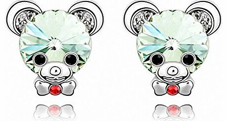 TTH Swarovski Elements Crystal Pendant Drop Earring [Baby Bear, Chrysolite ] 18KGP Rhinestone